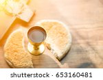 holy communion on wooden table... | Shutterstock . vector #653160481