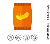 potato chips icon | Shutterstock .eps vector #653164621