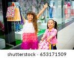 kids shopping in mall | Shutterstock . vector #653171509
