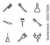 brush icons set. set of 9 brush ... | Shutterstock .eps vector #653173204