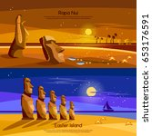 easter island banners  moai...   Shutterstock .eps vector #653176591