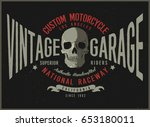 vintage biker graphics and... | Shutterstock .eps vector #653180011