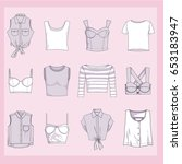 set of clothes crop tops icons. ... | Shutterstock .eps vector #653183947