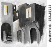 old town homes  digital artwork ... | Shutterstock . vector #653185135
