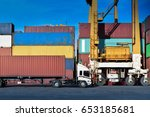 container handling. container... | Shutterstock . vector #653185681