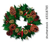 christmas wreath with red... | Shutterstock .eps vector #65318785