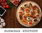 crostini with different...   Shutterstock . vector #653193205