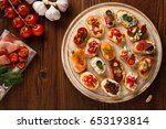 crostini with different... | Shutterstock . vector #653193814