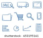 set with different large... | Shutterstock .eps vector #653195161