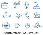 set with different business and ... | Shutterstock .eps vector #653195221