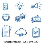 set with different business... | Shutterstock .eps vector #653195227