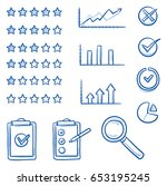 icon set with rating stars... | Shutterstock .eps vector #653195245