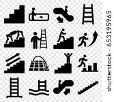 staircase icons set. set of 16...   Shutterstock .eps vector #653195965