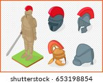 knight armor and helmets set... | Shutterstock .eps vector #653198854