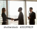 Small photo of Businessman and businesswoman handshaking standing at big window in modern office, multicultural partners start meeting, get acquainted, nice to meet you, welcoming and ready to negotiate, join team