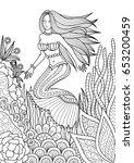 pretty mermaid swimming among... | Shutterstock .eps vector #653200459