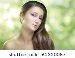 a beauty girl on the green... | Shutterstock . vector #65320087