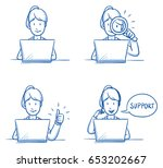 Modern business woman looking happy, working on her laptop, verifying, checking and talking on the phone. Hand drawn line art cartoon vector illustration.