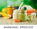 natural baby food concept  jars ... | Shutterstock . vector #653211127