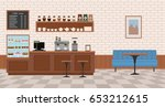 empty cafe interior. flat... | Shutterstock .eps vector #653212615
