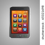 Black mobile smart phone isolated on white.  This is a detailed 3D render. - stock photo