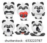 set of panda cartoon emoji... | Shutterstock .eps vector #653223787