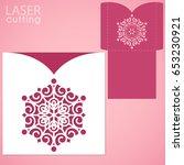 die laser cut wedding card... | Shutterstock .eps vector #653230921