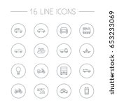 set of 16 traffic outline icons ... | Shutterstock .eps vector #653233069