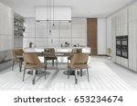 3d rendering dining set in wood ... | Shutterstock . vector #653234674