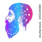 scientist tattoo. double... | Shutterstock .eps vector #653235085
