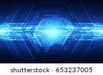 vector abstract human brain on... | Shutterstock .eps vector #653237005