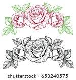 rose flower vignette. color and ... | Shutterstock .eps vector #653240575