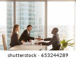 friendly caucasian employers... | Shutterstock . vector #653244289
