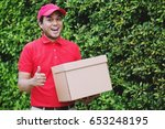 smiling young man happy hand... | Shutterstock . vector #653248195