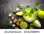mojito on black background.... | Shutterstock . vector #653248894