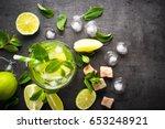 mojito on black background.... | Shutterstock . vector #653248921