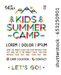 kids summer camp poster with... | Shutterstock .eps vector #653250901