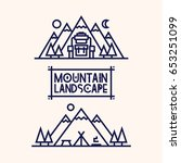 mountain landscape set... | Shutterstock .eps vector #653251099