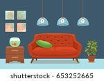 living room cozy interior with... | Shutterstock .eps vector #653252665
