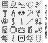 set of 25 hardware outline... | Shutterstock .eps vector #653259715