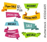 set of sale labels with... | Shutterstock .eps vector #653261605