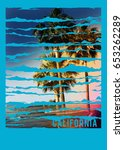 photo print palm and  beach... | Shutterstock . vector #653262289