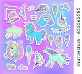 unicorn multicolor stickers... | Shutterstock .eps vector #653263585