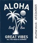 hawaii aloha vector... | Shutterstock .eps vector #653264005