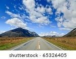 Scenic mountain road in the Southern Alps of the South Island of New Zealand - stock photo