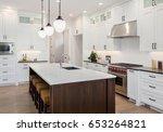 kitchen interior with island ... | Shutterstock . vector #653264821