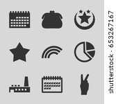 set of 9 trendy filled icons...