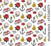 seamless pattern in old school... | Shutterstock .eps vector #653268379