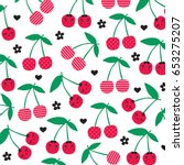 cherry pattern on white... | Shutterstock .eps vector #653275207