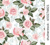 bright watercolor pattern with... | Shutterstock . vector #653276821
